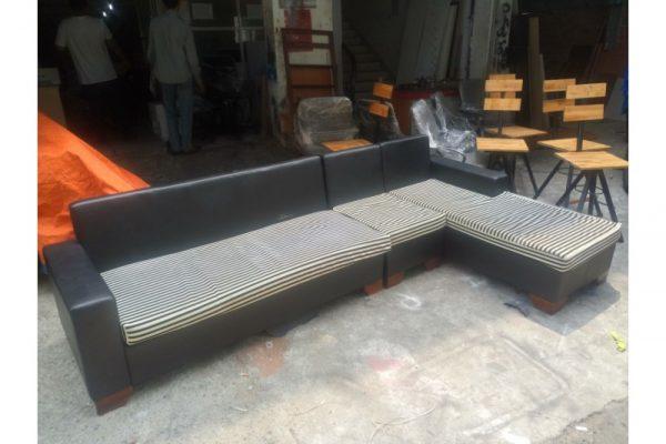 Thanh lý sofa góc cũ simili đen giá rẻ SFR01