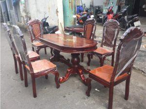 Thanh lý bộ bàn ăn gỗ 6 ghế hàng Vip