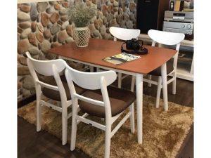 Thanh lý bộ bàn ăn mango 4 ghế trắng nâu