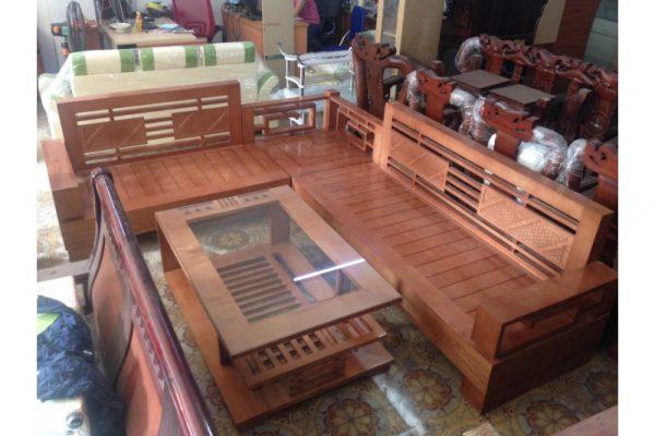 Thanh lý bộ salon gỗ sồi cũ chữ L giá rẻ