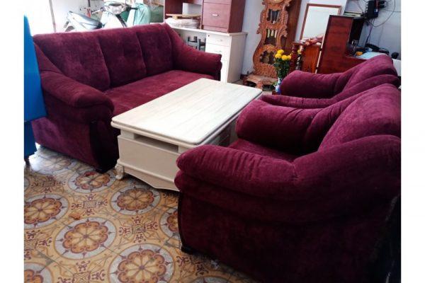 Thanh lý bộ sofa cũ cao cấp màu đỏ đô