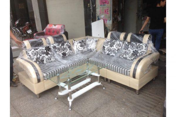 Bộ Sofa Cũ Chữ L Màu Kem Giá Rẻ
