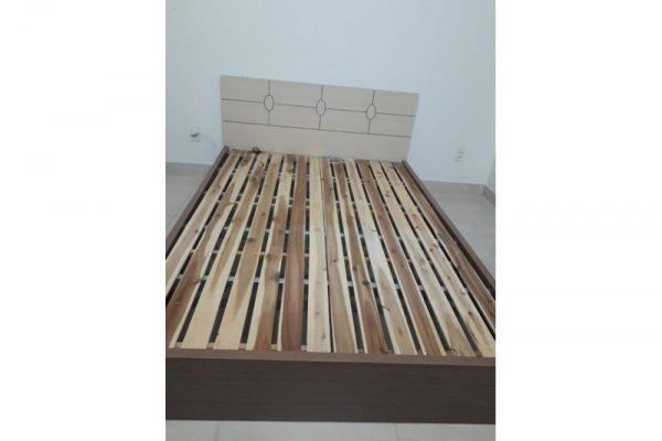 Thanh lý giường cũ 1m4 MDF kem nâu G01