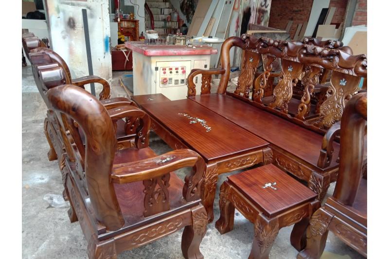 Thanh lý bộ salon gỗ tràm cũ như mới