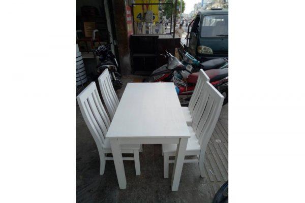 Bộ bàn ăn gỗ xoan vip màu trắng