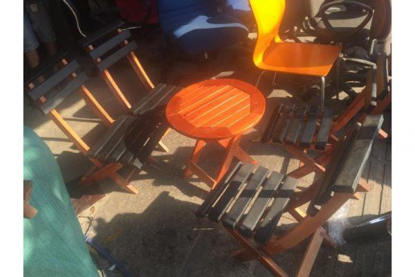 Bàn ghế xếp gỗ cafe thanh lý M05