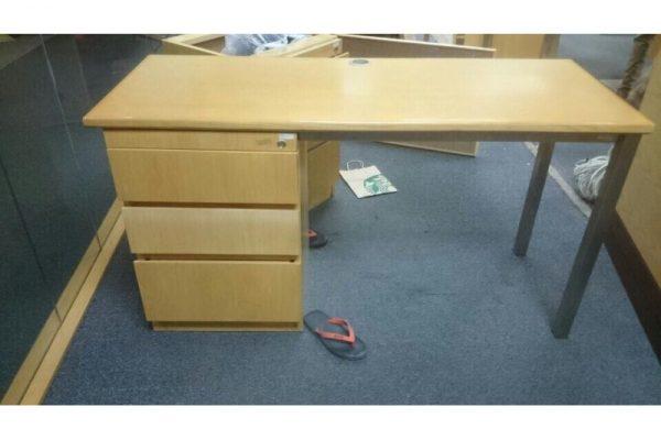 Thanh lý bàn làm việc gỗ chân inox