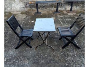Thanh lý Bộ bàn 2 ghế cafe chân xếp cũ giá rẻ
