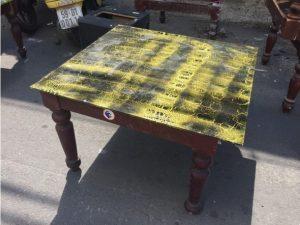 Thanh lý Bàn cafe bệt chân gỗ mặt kính cũ - BSFC36