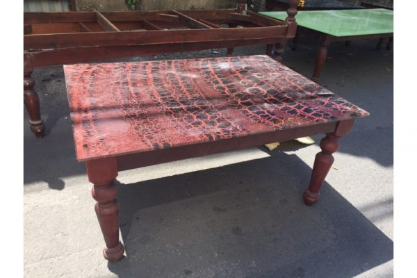 Thanh lý Bàn uống trà cũ chân gỗ mặt kính cũ - BSFC38