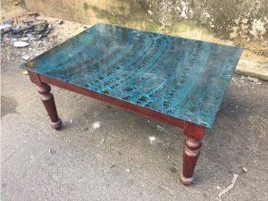 Thanh lý Bàn sofa mặt kính xanh cũ - BSFC37