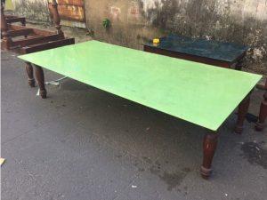 Thanh lý Bàn sofa gỗ mặt kính xanh 2m cũ - BSFC40