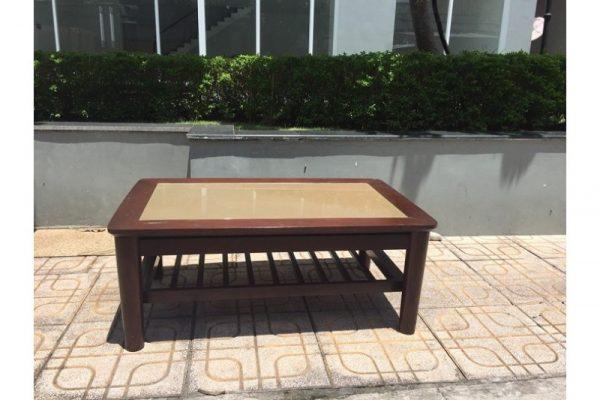 Thanh lý Bàn trà ngồi bệt gỗ sồi mặt kính 1m2 cũ C05