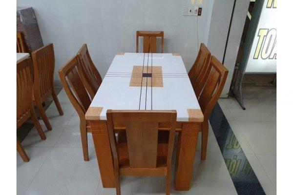 Thanh lý bộ bàn ăn mặt đá 6 ghế vancouver cao cấp
