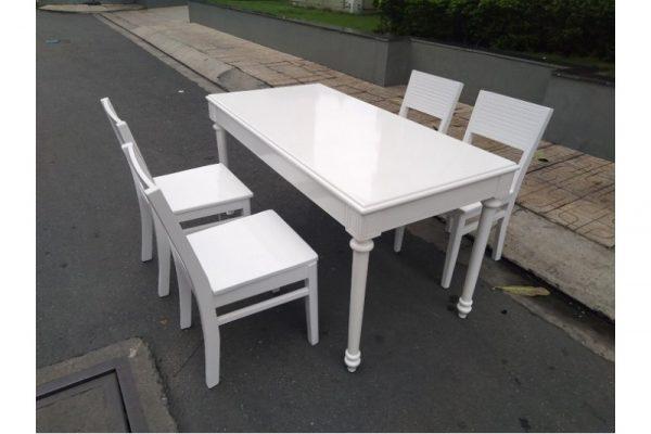 Thanh lý Bộ bàn ghế ăn màu trắng cũ giá rẻ