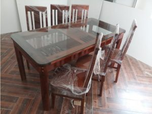 Thanh lý Bộ bàn ăn 6 ghế kiểu nhật có kính giá rẻ