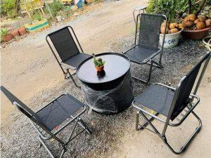 Thanh lý Bộ bàn 4 ghế cafe thùng phuy sắt giá rẻ