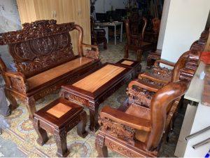 Thanh lý bộ salon gỗ tràm tay 10 mặt gõ Bát Tiên giá rẻ