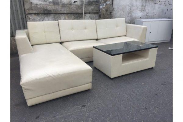 Thanh lý Bộ sofa góc L bọc simili màu sữa giá rẻ