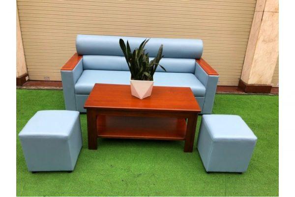 Thanh lý Bộ sofa gỗ mini bọc simili giá xưởng