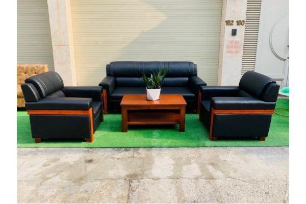 Thanh lý Bộ sofa gỗ bọc da cao cấp giá xưởng