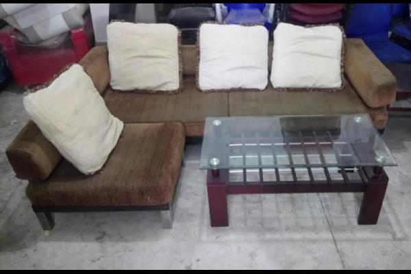Sofa Cũ L Vải Khung Gỗ Chân Inox