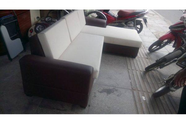 bộ sofa cũ chữ L bọc simili trắng đen