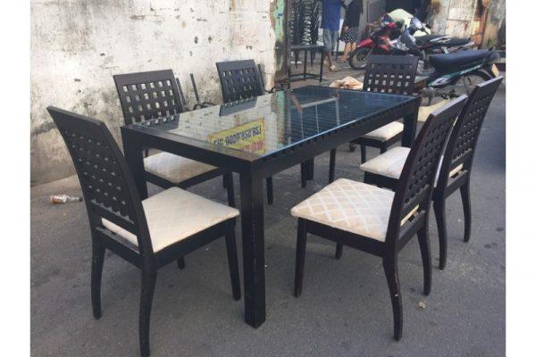 Thanh lý Bộ bàn ăn 6 ghế lót nệm cũ - BBAC15