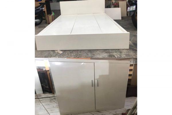 Combo giường tủ màu trắng  gỗ tự nhiên giá rẻ