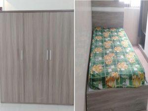 Combo giường tủ gỗ công nghiệp màu óc chó mới