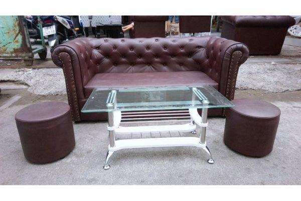 Thanh lý bộ sofa cũ màu nâu vip