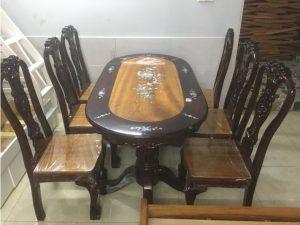 Thanh lý bộ bàn ăn gỗ tràm 6 ghế