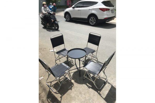Thanh lý bộ bàn ghế xếp cafe lưng lưới
