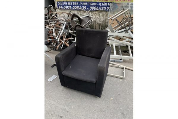 Ghế sofa đơn bọc vải màu đen cũ giá rẻ