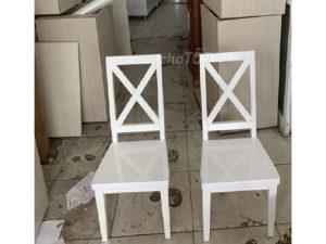 Thanh lý Ghế gỗ trắng lưng chữ X cũ giá rẻ