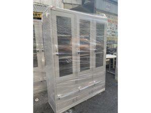 Tủ hồ sơ 3 cửa kính màu xám mới 100% M05