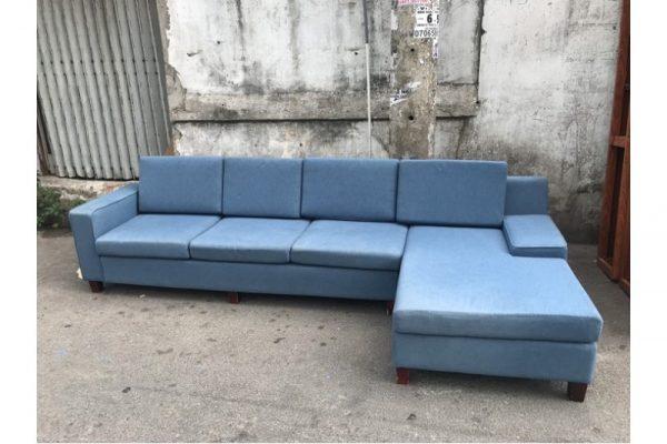 Thanh lý Bộ sofa góc L bọc vải xanh mới 90% giá rẻ