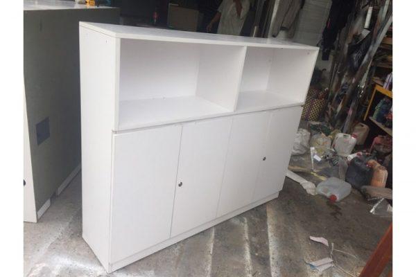 Tủ kệ hồ sơ 4 cánh màu trắng cũ giá rẻ - 1m4x1m15