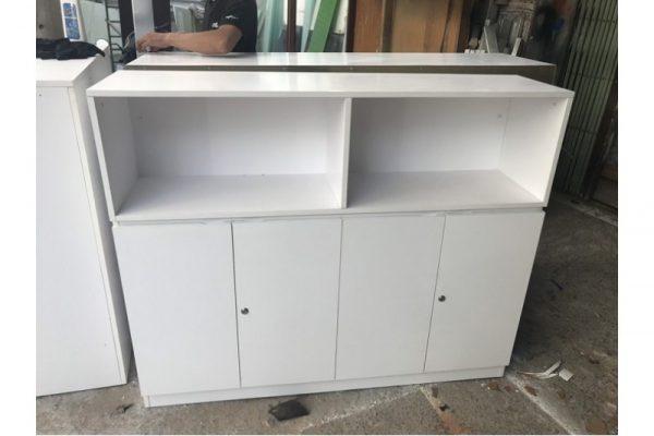 Tủ kệ hồ sơ 4 cánh màu trắng cũ giá rẻ - 1m6x1m15