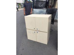 Thanh lý Tủ locker gỗ 4 ngăn màu kem cũ giá rẻ