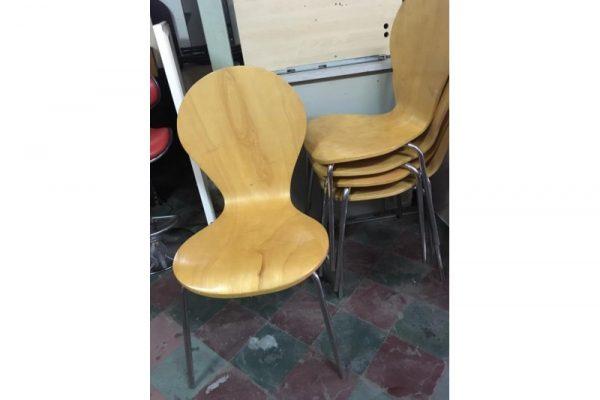 Thanh lý ghế gỗ cafe chân inox M01