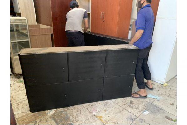Tủ locker 6 ngăn gỗ đen cũ C06