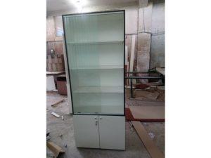 Tủ trưng bày nhiều ngăn màu trắng kính lùa cũ