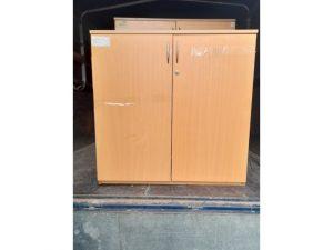 Thanh lý Tủ hồ sơ thấp 2 cánh màu nâu cũ - THSC157