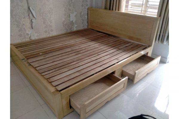 Thanh lý giường gỗ sồi cũ 2 hộc 1m8 giá rẻ