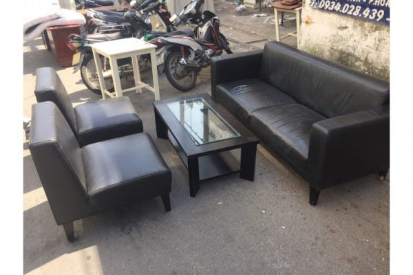 Thanh lý bộ sofa cũ tiếp khách màu đen Mã BSFC42