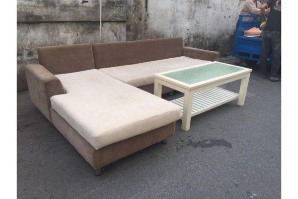 Thanh lý bộ sofa cũ góc L màu kem nâu Mã BSFC43