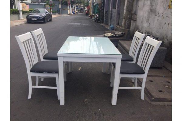 Thanh lý Bộ bàn ăn cũ màu trắng 4 ghế giá rẻ