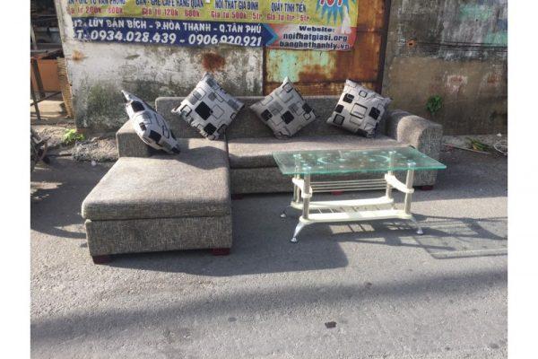 Thanh lý bộ sofa cũ góc L màu xám Mã BSFC44