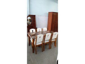 Thanh lý bộ bàn ăn 6 ghế neva bàn ăn mặt đá